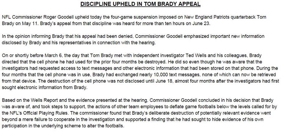 Oświadczenie w sprawie zawieszenia Toma Brady'ego