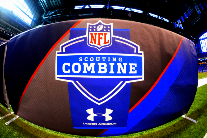 A banner with the NFL Scouting Combine logo is shown at the 2013 NFL Scouting Combine at Lucas Oil Stadium in Indianapolis, on February 24, 2013. (AP Photo/Johnny Vy)