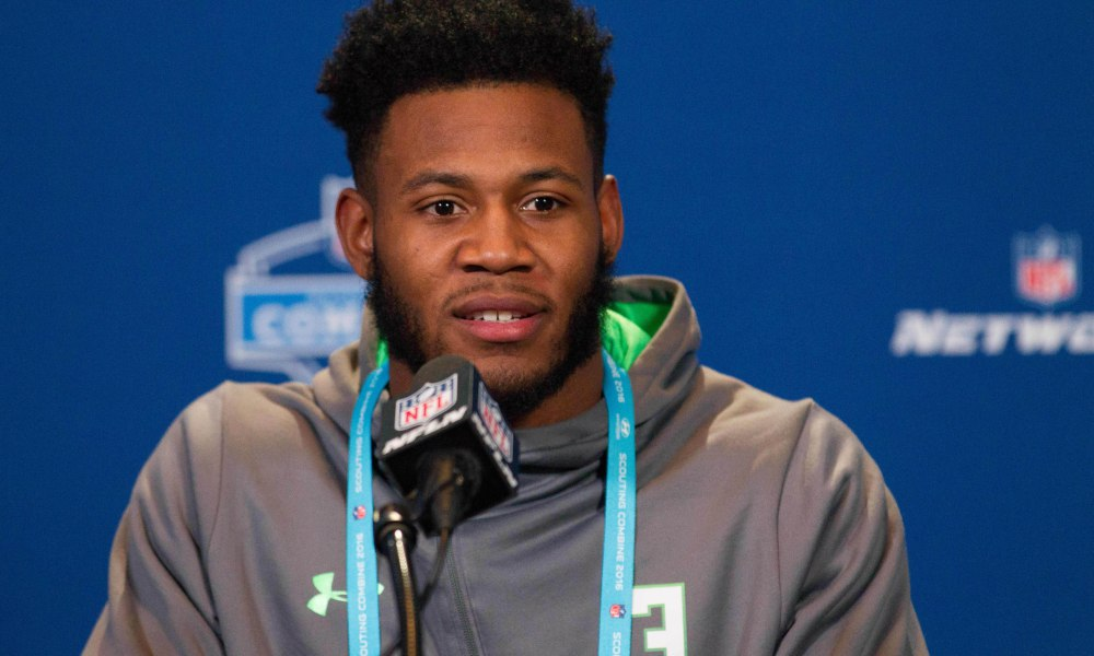 Feb 27, 2016; Indianapolis, IN, USA; Ohio State defensive back Vonn Bell speaks to the media during the 2016 NFL Scouting Combine at Lucas Oil Stadium. Mandatory Credit: Trevor Ruszkowski-USA TODAY Sports