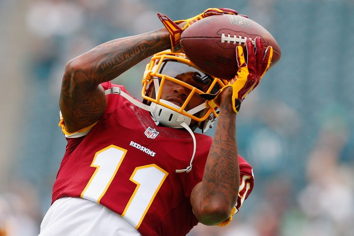 PHILADELPHIA, PA - SEPTEMBER 21: DeSean Jackson #11 of the Washington Redskins catches a pass during warm-ups before playing against the Philadelphia Eagles at Lincoln Financial Field on September 21, 2014 in Philadelphia, Pennsylvania. (Photo by Rich Schultz/Getty Images)